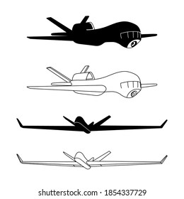 set of military drones for reconnaissance & attack with remote control, modern aviation technologies, vector illustration, silhouette & black contour lines, isolated on a white background