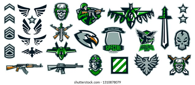 Set of military emblems. Stripes and badges. Military ranks, wings, weapons, soldiers, aircraft, skulls, machine guns, eagle, hawk. Colorful collection, vector illustration