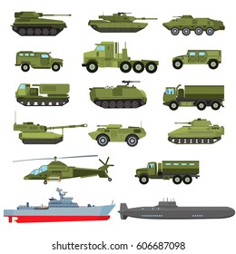 Set of the military enginery or equipment:  combat  and armored  vehicles, tanks, helicopter, destroyer, submarine. Vector illustration