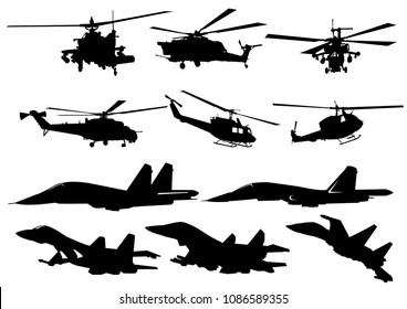 Set of military equipment silhouette vector.