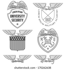 Set of military labels, badges and design elements