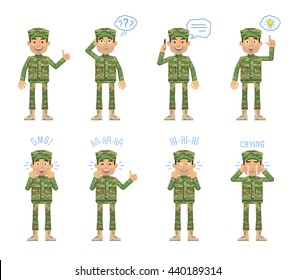 Set of military man characters posing in different situations. Cheerful soldier talking on phone, thinking, crying, pointing up, surprised, laughing, showing thumb up gesture. Flat vector illustration