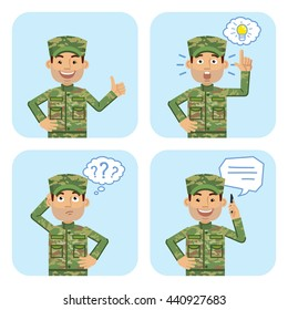 Set of military man characters posing in different situations. Cheerful soldier talking on phone, pointing up, thinking, showing thumb up gesture. Emoticon, emoji. Flat style vector illustration