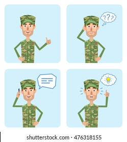 Set of military man characters posing in different situations. Cheerful soldier thinking, talking on phone, pointing up, showing thumb up gesture. Flat style vector illustration