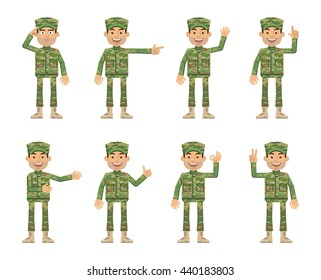 Set of military man characters showing different hand gestures. Cheerful soldier in camouflage showing thumb up gesture, salute, greeting, waving, pointing up. Flat style vector illustration