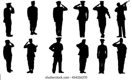 Set of military man saluting silhouette
