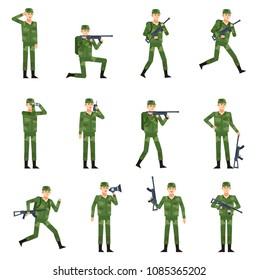 Set of military man showing various actions. Soldier in green military camouflage holding gun, loudspeaker, binoculars, running, saluting. Flat design vector illustration