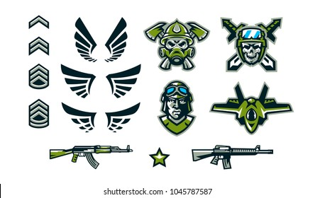 A set of military signs, emblems, logos. Soldiers' insignia, wings, assault rifles, a skull in a helmet against the background of swords and axes, the face of a tankman. Vector illustration
