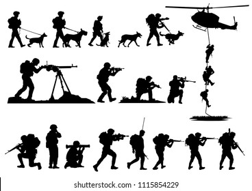 Set of military silhouettes, military vector illustration, Army soldiers,Military dog, Military silhouettes background.