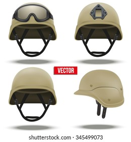 Set of Military tactical helmets of rapid reaction. Desert color. Army and police symbol of defense. Vector illustration Isolated on white background. Editable.