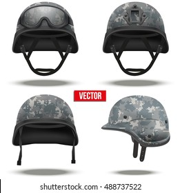 Set of Military tactical helmets of rapid reaction. Digital pixel camo color. Army and police symbol. Editable Vector illustration Isolated on white background.
