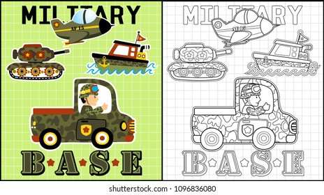 Set of military vehicles, coloring book or page, vector cartoon illustration