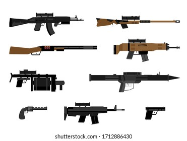 Set of military weapon the pistol, machine gun, rifle, guns, grenade launcher, revolver, collection of flat weapons isolated on white background, vector illustration, eps.