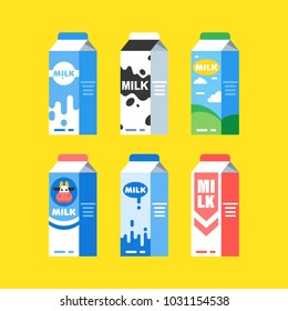 Set of milk carton boxes with a different design. Vector flat style illustration  isolated on white background.