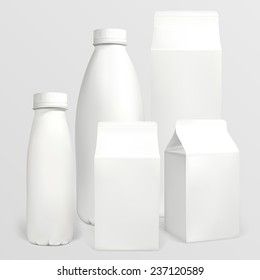 Set of milk cartons. Each object can be used separately. Illustration contains gradient meshes.