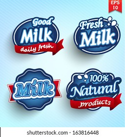 Set of milk and dairy farm product logo labels