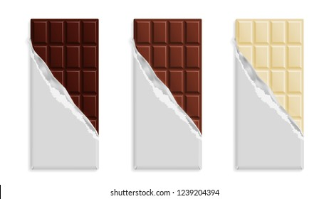 Set of milk, dark and white chocolate bars in silver wrap isolated on white background. Vector illustration