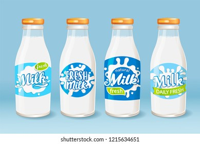 Set of milk glass bottles with different labels. Fresh and natural milk for your brand, logo, template, label, emblem for groceries, stores, packaging and advertising, marketing. Vector illustration.