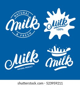 Set of Milk hand written lettering logo, label or badge. Design elements for grocery, farm, agriculture store, packaging and advertising. Vector illustration.