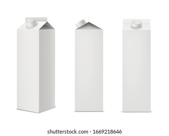 Set of milk or juice packages made of clean carton paper isolated on white background. Mockup of aseptic food packaging for dairy products or beverages. Realistic vector illustration for branding.
