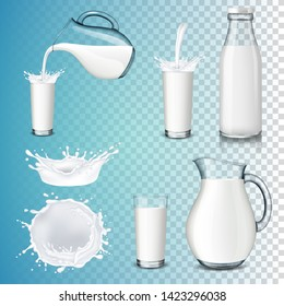 Set of milk product, isolated on transparent background. Splashing and pouring milk, bottle, jug, glass.