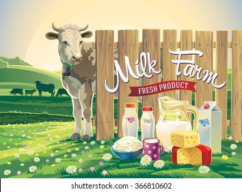 Set of milk products from farm with illustrations a cow, and rural landscape.