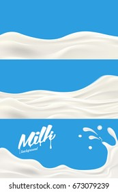 Set of Milk or yogurt splash vector realistic illustration for label design and other advertising needs
