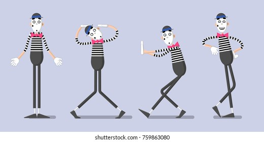 A set of mime performances. Behind the invisible wall, shrugging shoulders; leaning on. Drawn in flat style.