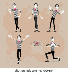 Set of Mimes Performing Different Pantomimes Called Leaning, Shrugging Shoulders, Behind the Wall, Open Arms, Giving Heart Away