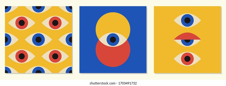 Set of minimal 20s geometric design with eyes, vector template with primitive shapes elements, modern hipster style