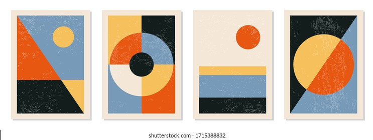 Set of minimal 20s geometric design posters, vector template with primitive shapes elements, modern hipster style