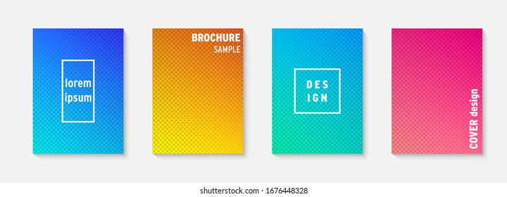 Set of minimal covers vector design. Colorful gradient. Cool modern gradient background design. Cover layout template. Minimal poster template. Modern abstract vector illustration. Geometric poster