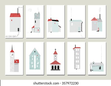 Set of minimal european houses - hand drawn ink textures - can be used in your design - stock vector