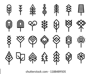 Set of Minimal Geometric line tree icon