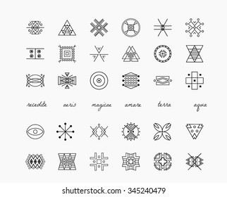 Set of minimal geometric monochrome shapes. Trendy hipster icons and logotypes. Religion, philosophy, spirituality, occultism symbols collection. Business signs, labels, badges
