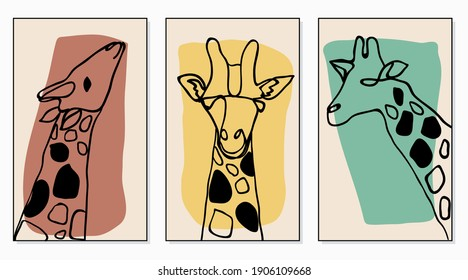 set of minimal giraffe abstract childish hand drawing continuous lines face  for posters, hanging wall, wallpaper, texture, banner, label, card etc. modern hipster style vector design.