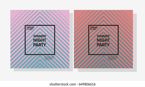 Set of Minimal poster design. Geometric gradient. Modern style abstraction Summer Night Party Vector poster Template. Geometric  style web banner. Abstract flat design colorful illustration.