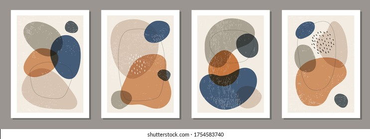 Set of minimal posters with abstract organic shapes composition in trendy contemporary collage style, can be used for wall decoration, postcard, cover design