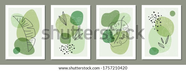 Set of minimal posters with abstract organic shapes composition in trendy contemporary collage style, can be used for wall art decoration, postcard, cover design