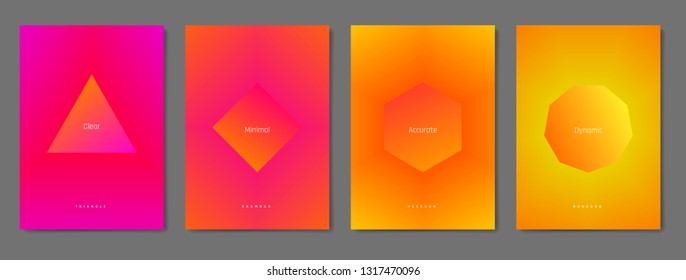 Set of minimal posters with smooth blend gradient background and simple geometric shape. Clean and beautiful colors. Album format, A4, A3, A2.