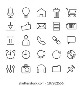 Set of Minimal Simple Multimedia and Interface Thin Line Icons on White Background 2.