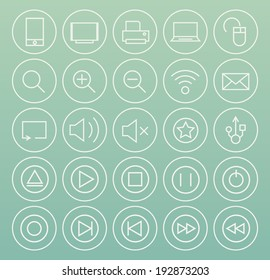 Set of Minimal Simple Multimedia and Interface Thin White Line Icons on Minimal Circular Buttons 1.