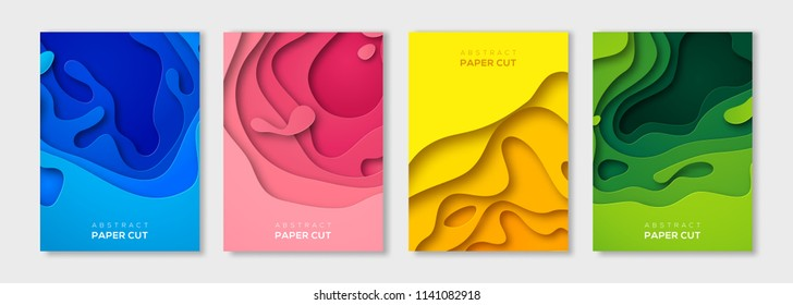 Set of minimal template in paper cut style for posters, flyers or cards design. Vector illustration.