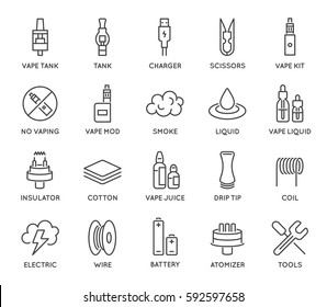 Set of Minimal Vape Vaping Culture Vector Line Icons.