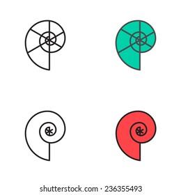 Set of minimalism seashell logos
