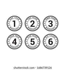 Set of minimalist 1, 2, 3, 4, 5, and 6 years warranty symbol. Editable color vector.