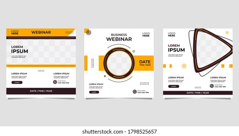 Set of Minimalist Background with memphis style. Suitable for social media post template, Webinar, Seminar, daring banner, online education, flyer, ads, etc