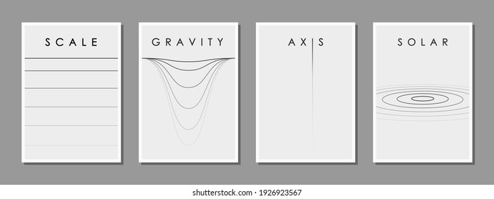 Set of minimalist black and white design for the cover of a scientific conference and other events, vector illustration. Research accuracy, coordinate axes, gravity, astronomy.