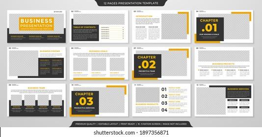 set of minimalist business presentation template design