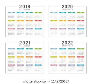 Set of minimalist calendars, years 2019 2020 2021 2022, in French language, on white background - Vector templates.